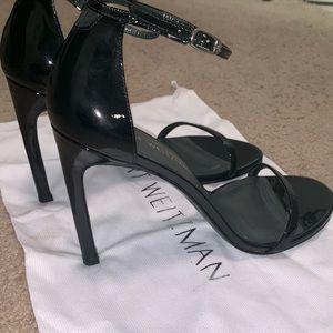 Stuart Weitzman Nudistsong patent black sandals 9